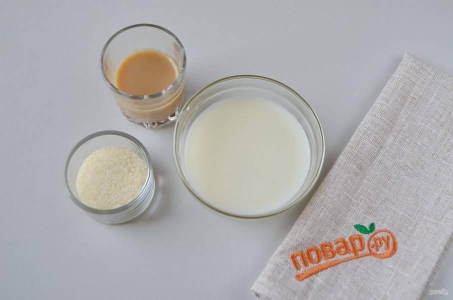 13. Желатин замочите в молоке, добавьте ликер, прогрейте на водяной бане (смотрите инструкцию на упаковке желатина!).