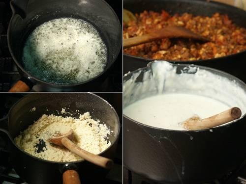 Растопите масло, всыпьте муку, размешайте и на огне постепенно влейте молоко, соус доведите до загустения.