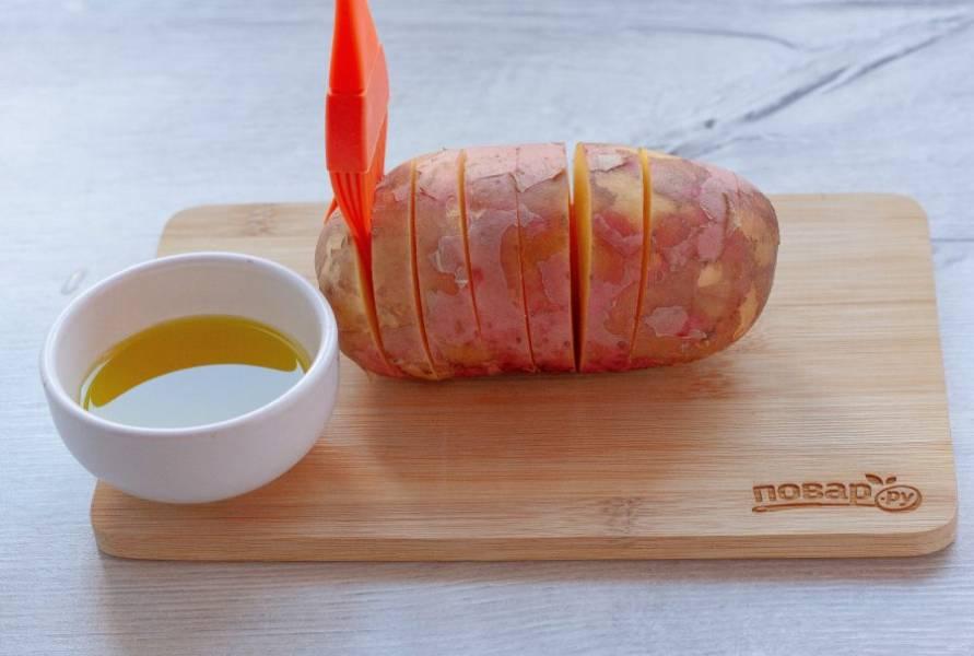 С помощью кулинарной кисточки смажьте картофель растительным маслом между разрезами и сверху. Также посолите. Переложите картофель на противень и поставьте в разогретую до 180 градусов духовку на 40-45 минут.