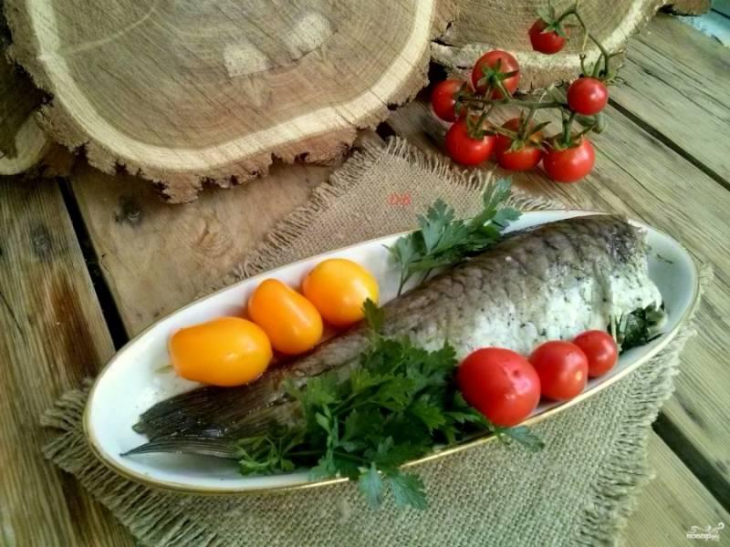 Подавайте готовое блюдо горячим, со свежими томатами и зеленью. Приятного аппетита!
