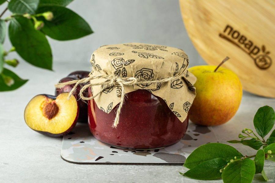 Яблочное пюре со сливами на зиму готово.