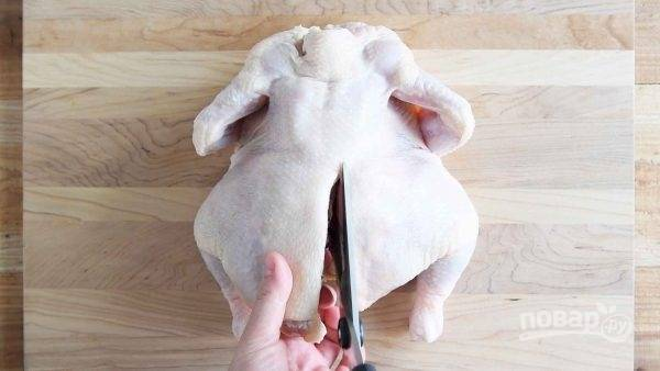 1.Положите курицу на разделочную доску грудкой вниз. Возьмите ножницы и начните вырезать позвоночник.