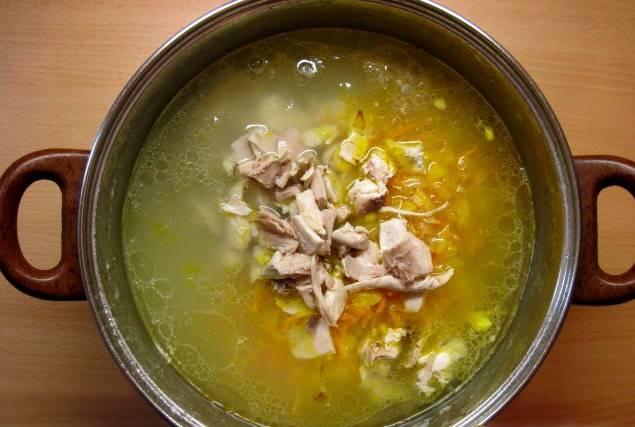 Отправляем в суп курицу, зажарку. Солим и перчим. Даем провариться минут 5. Готовый суп картофельный с курицей посыпьте зеленью. Приятного аппетита!
