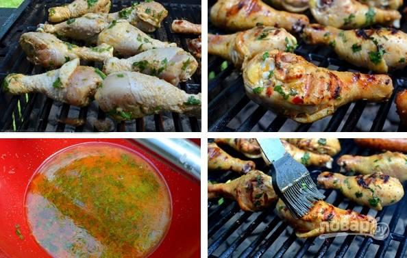 3. Обжарьте ножки на гриле до золотистой корочки и готовности мяса.