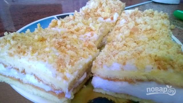 Присыпьте пирожное толченым бисквитом и поставьте в холодильник на часик, чтобы оно остыло. Для удобства разрежьте пирожные на квадратики. Подавайте к столу!