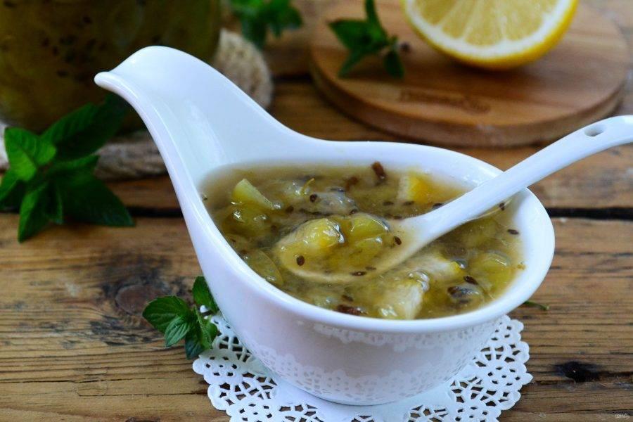 Варенье из крыжовника с лимоном на зиму готово. Кушайте с удовольствием!