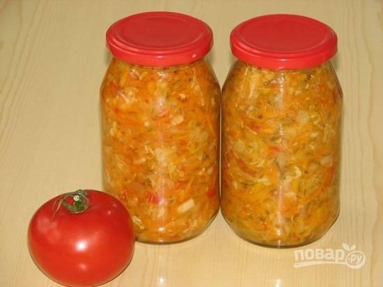 Из данного количества овощей получается 4.5 литра салата.