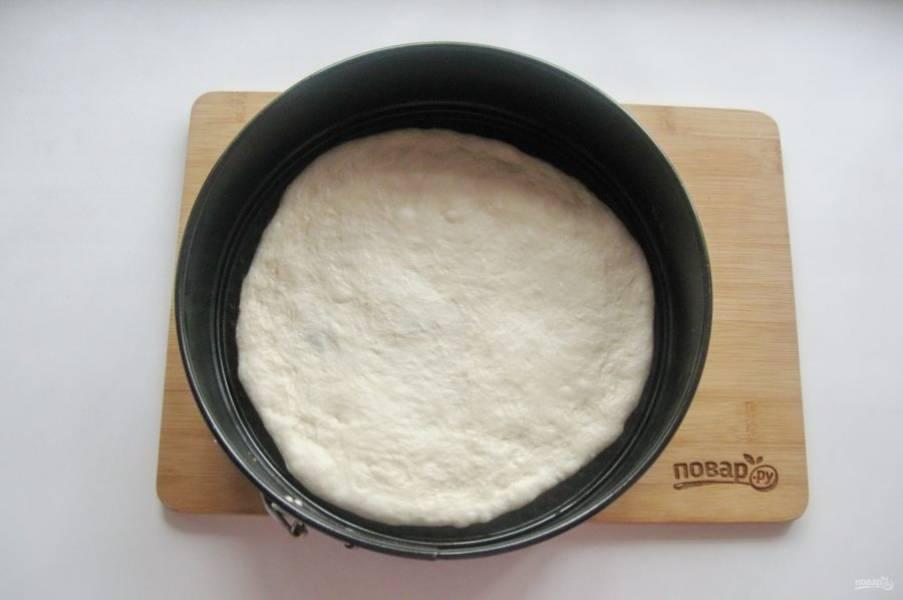Разделите тесто на две части. Каждую часть раскатайте в пласт и выложите в форму.