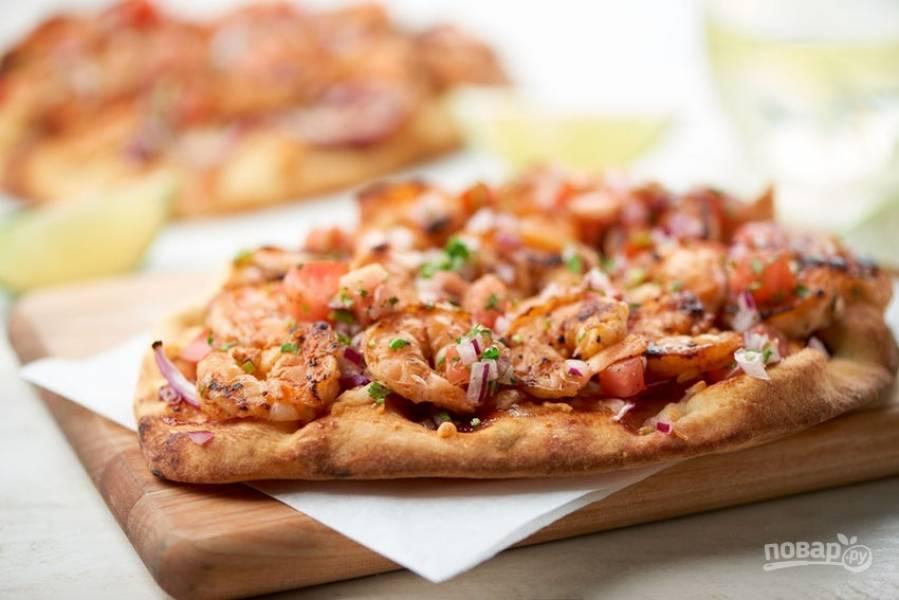Барбекю пицца с креветками