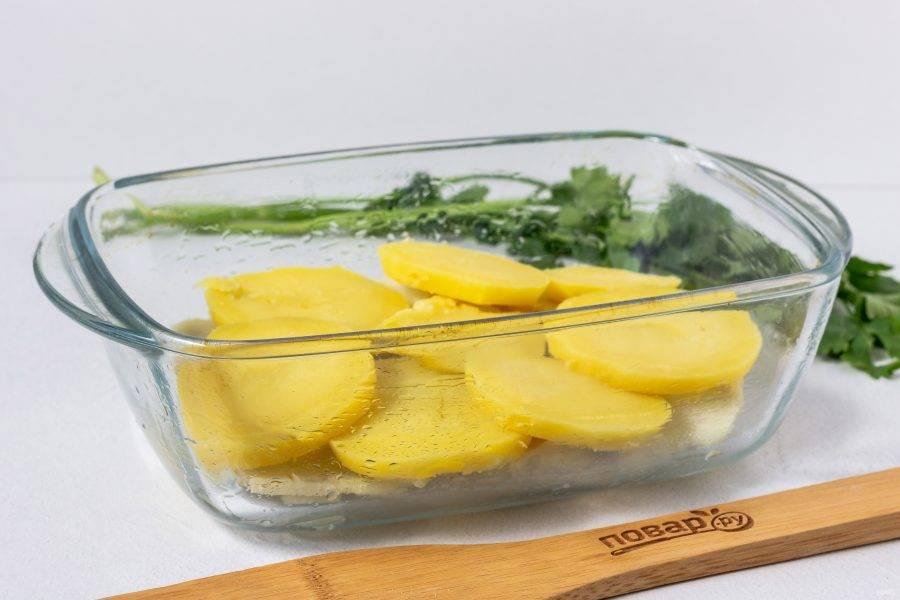 Форму смажьте растительным маслом. Картофель очистите и нарежьте кружочками. Первым слоем выложите половину имеющегося картофеля.