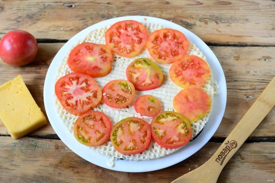 Накройте вторым вафельным листом, который снова смажьте майонезом, и выложите тонкие кружочки помидоров.