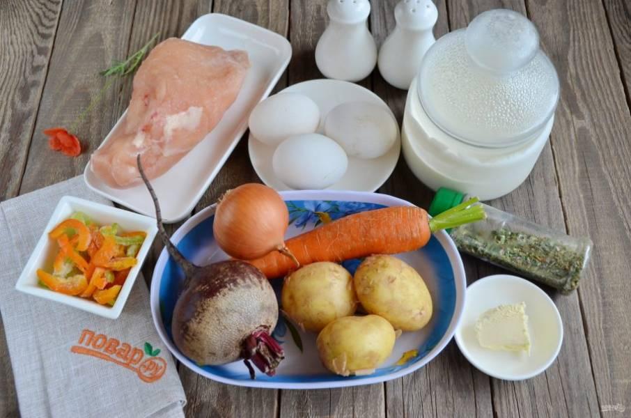 Подготовьте продукты для супа. Кроме плиты понадобится духовка и фольга. Приступим!