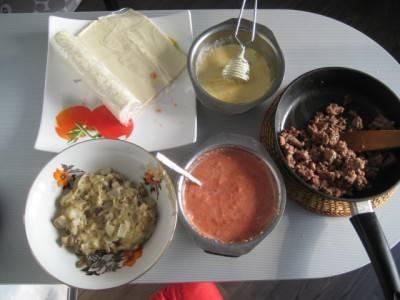 Фарш поджарьте на сковороде, грибы обжарьте с луком на оливковом масле, добавьте сливочное масло и муку, чтоб получить соус. Отдельно взбейте яйцо, майонез и тертый сыр. Помидоры измельчите в блендере со специями.