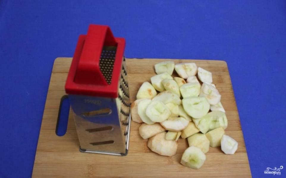 Яблоки помойте, очистите от кожуры  и натрите на крупной терке.