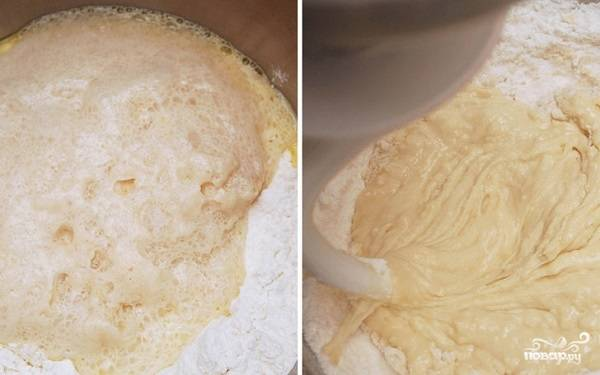 1. Для приготовления опары растворите в теплой воде дрожжи с сахаром. Добавьте пару ложек муки, перемешайте и оставьте минут на 10-15. Муку с солью просейте в глубокую мисочку. Добавьте опару и тщательно перемешайте.