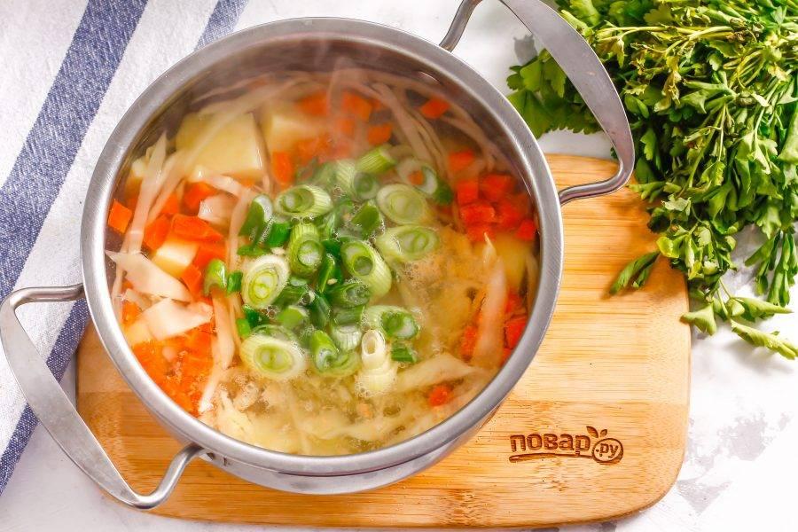 Промойте и измельчите зеленый лук, высыпьте нарезку в суп. Если заменяете его репчатым луком, то добавьте нарезку вместе с морковью.