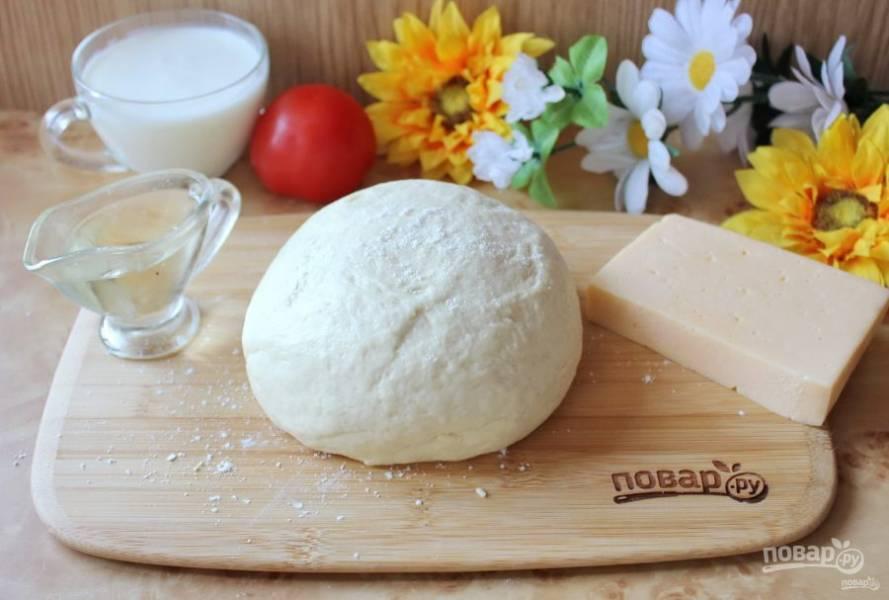 Дрожжевое тесто на кефире для пиццы готово.