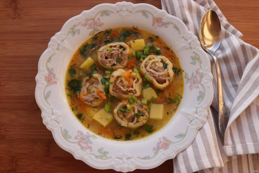 Суп с ленивыми пельменями подавайте со сметаной и свежей зеленью. Приятного аппетита!