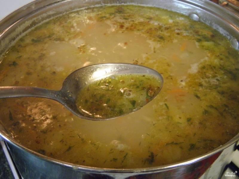 7. К конце варки добавьте специи и укроп. Выключите суп. Приятного аппетита!