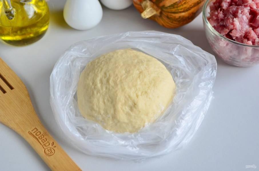 Замесите тесто. Вымешивайте хорошенько, не менее 10 минут, чтобы тесто было упругим, плотным. Заверните его в пакет и оставьте на 30-40 минут отдыхать. Пакет можно смазать маслом или присыпать мукой, чтобы тесто не прилипло. Но по опыту скажу: если тесто вымешано хорошо, оно не плывет и не липнет.
