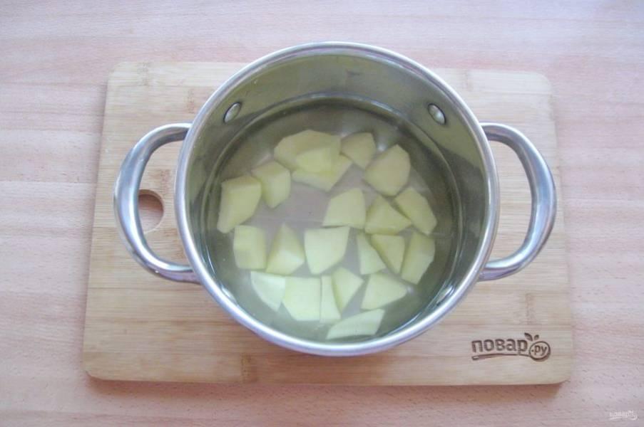 В кастрюлю налейте воду. Картофель очистите, помойте и нарежьте. Выложите в кастрюлю. Поставьте её на плиту и начинайте варить суп.