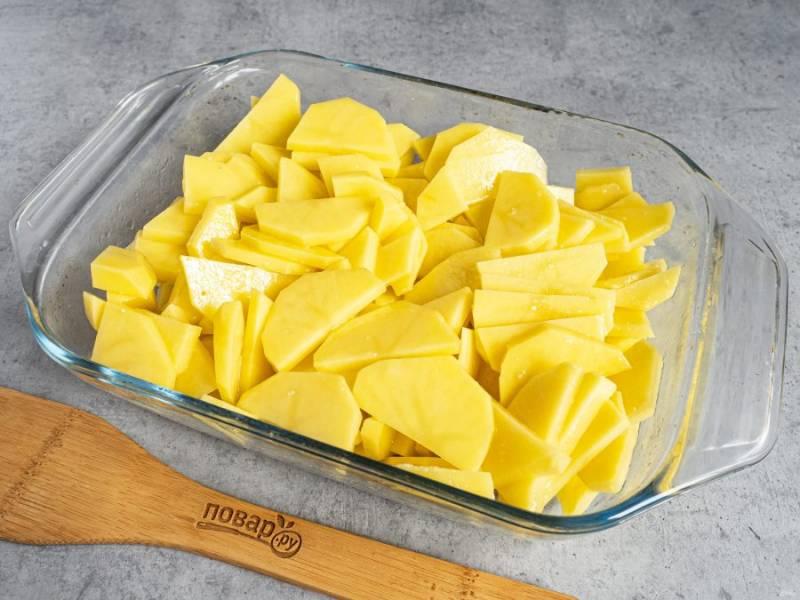 Непосредственно перед приготовлением блюда нарежьте картофель пластинами и выложите в смазанную маслом форму. Посолите по вкусу.