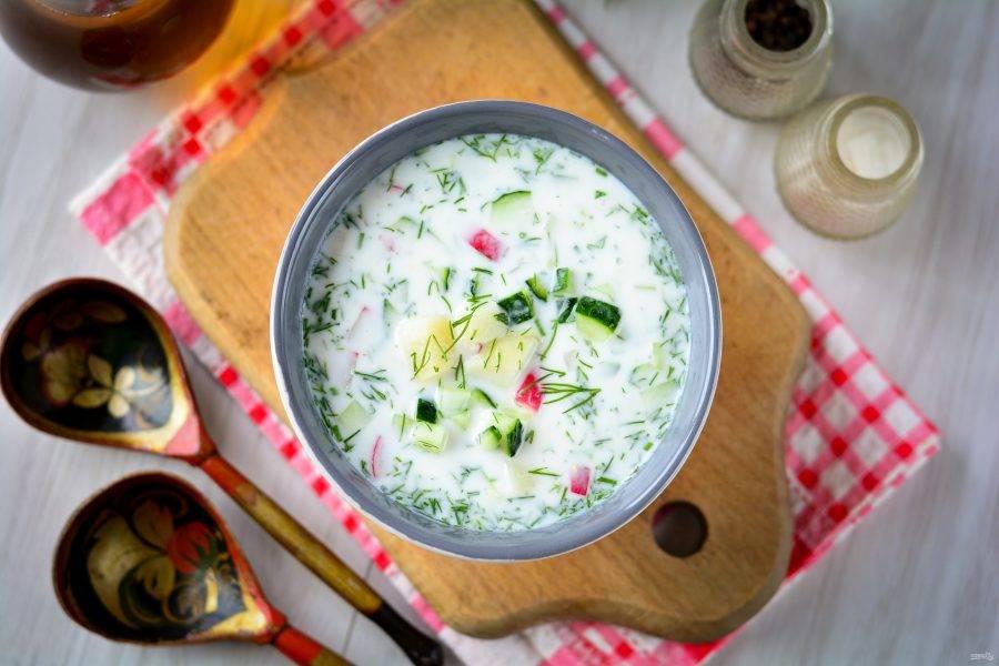 Суп поставьте в холодильник на 15-20 минут, после чего подавайте к столу. Приятного аппетита!
