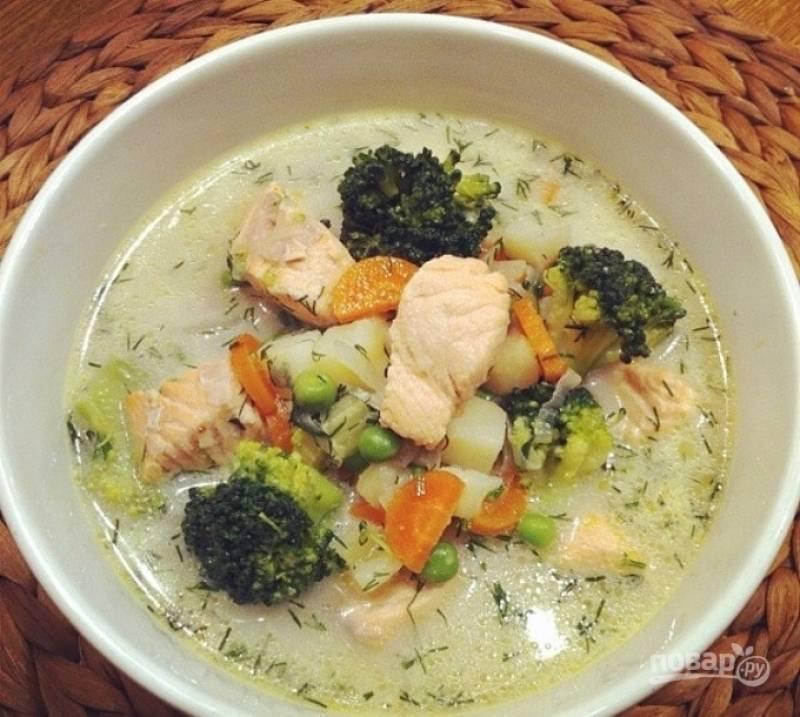Суп из филе семги