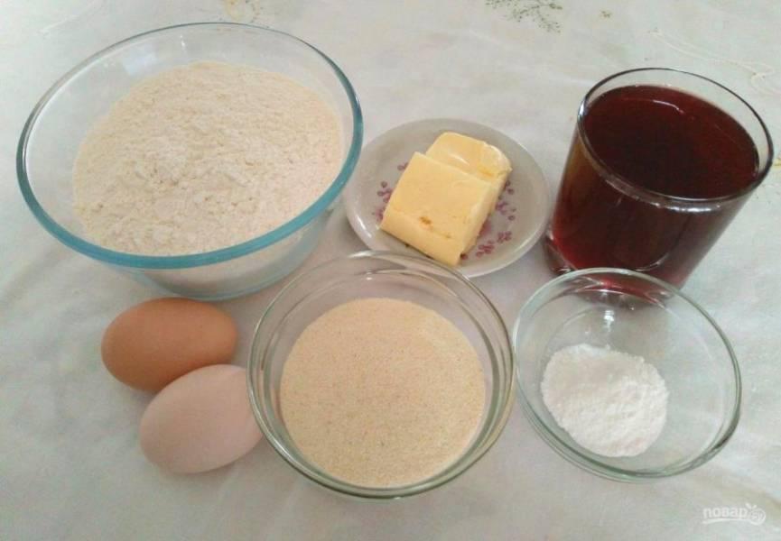 Подготовьте все ингредиенты, которые требуются для приготовления печенья.