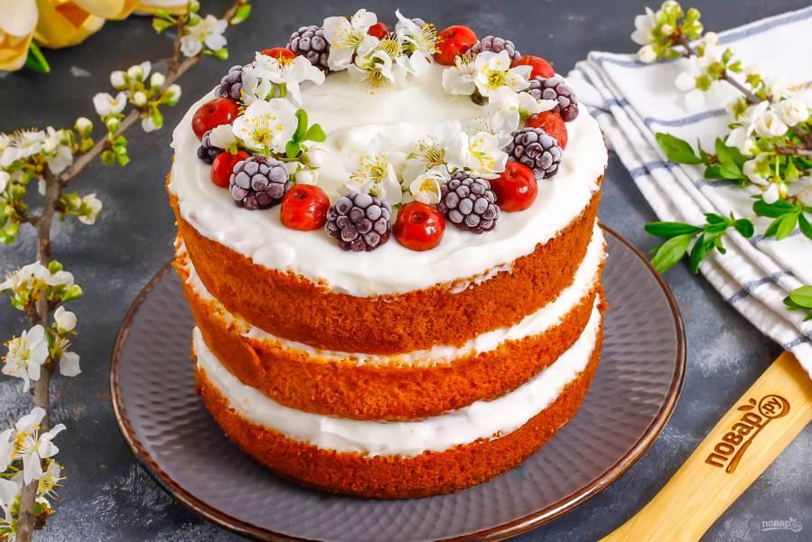 Торт с замороженными ягодами