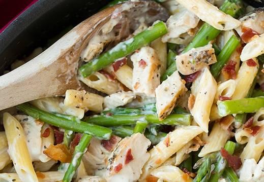 """3. Если, по вашему мнению, блюдо сухое, добавьте полстакана воды, в которой варилась паста. Перемешайте, прогрейте. Блюдо готово! При подаче к пенне с курицей  спаржей можно подать тертый сыр """"Пармезан""""! Приятного аппетита!"""
