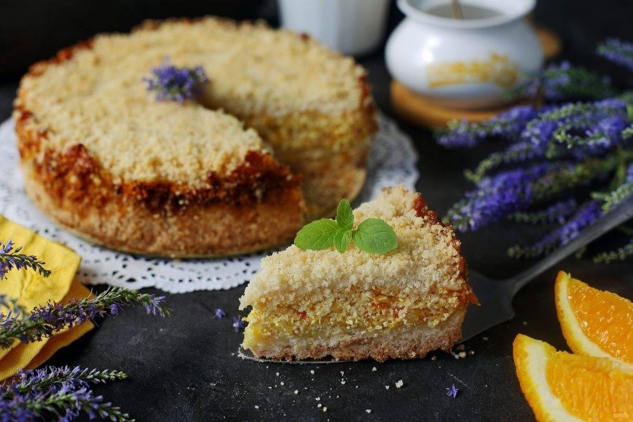 Творожный пирог с апельсинами готов. Дайте ему остыть, затем нарежьте на порции и подавайте к столу. Приятного аппетита!