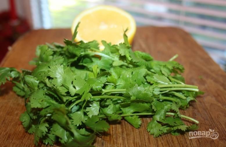 Промойте и мелко нарубите кинзу. Пропустите через пресс оставшийся чеснок. Выжмите сок из лимона.