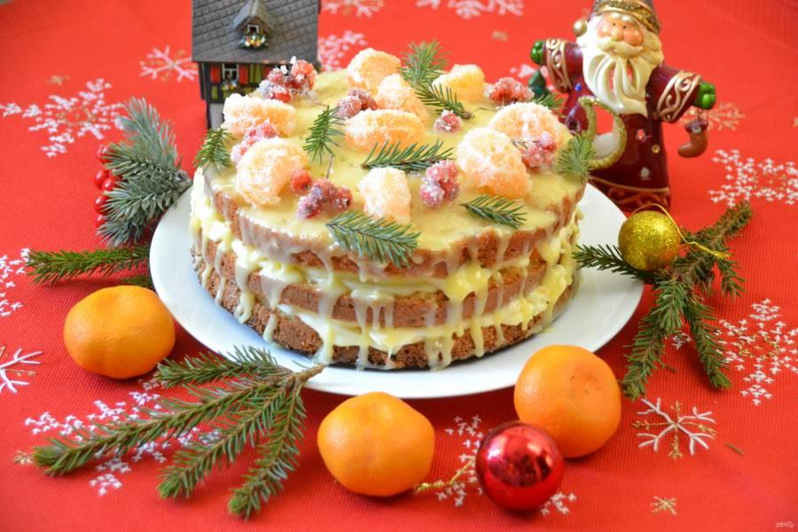 Мандариновый торт на Новый год
