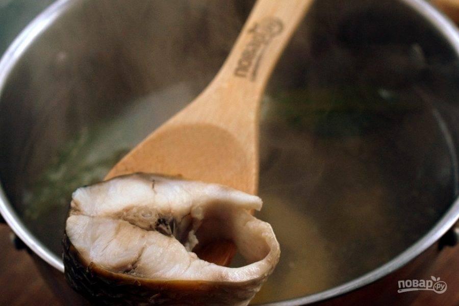Рыбу нарежьте на порционные кусочки. Опустите  рыбу в кипяток с лавровым листом, варите в течение 20 минут.