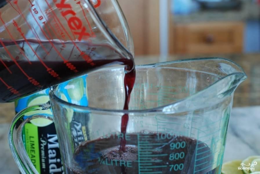Смешиваем нашу жидкость с виноградным соком.