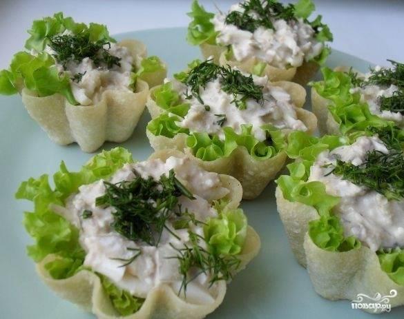Тарталетки с тунцом консервированным
