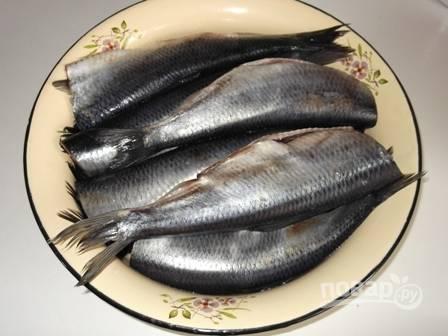 У размороженный рыбы отрежьте головы и вычистите внутренности. Тщательно промоем рыбу.