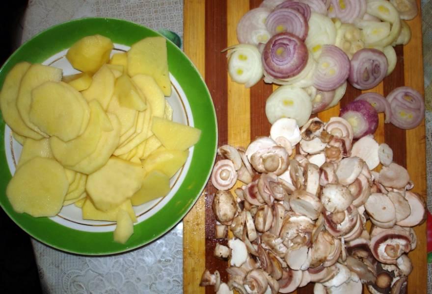 Картошку режем кольцами, лук тоже. Грибы разрезаем на пластинки.
