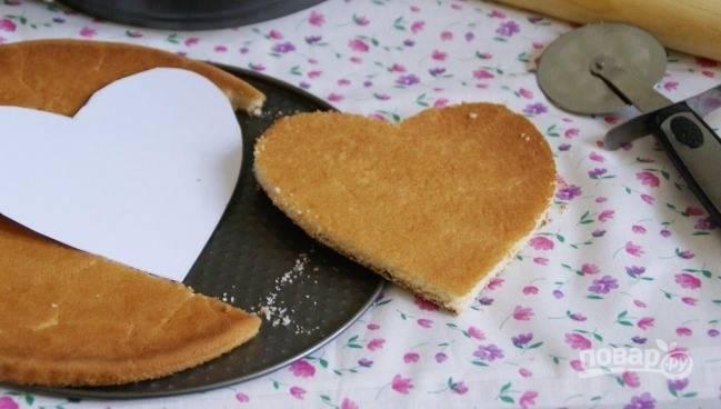 """Из бумаги вырежьте сердечки нужного вам размера. При помощи такого трафарета из остывшего бисквита вырезайте сердечки, которые станут основой торта. Таких """"сердечных"""" коржей должно получится три штуки."""