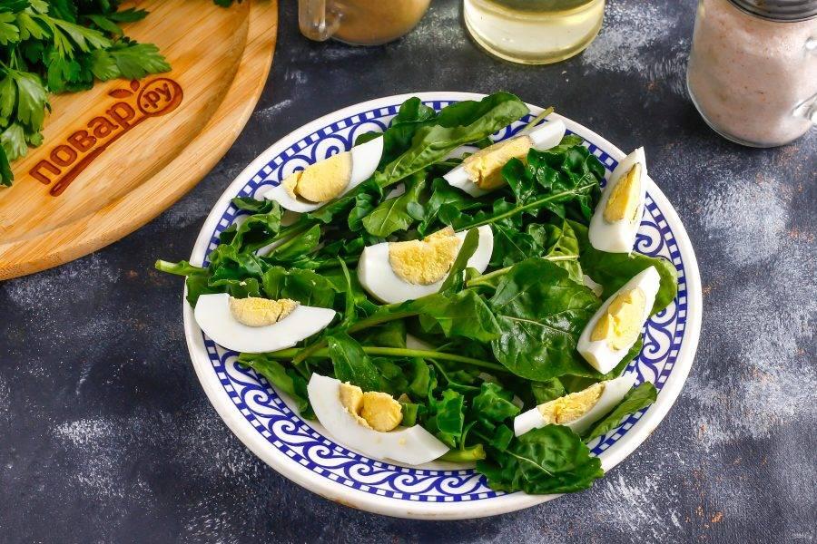 Очистите от скорлупы куриное яйцо, промойте его и нарежьте ломтиками. Выложите нарезку на тарелку.