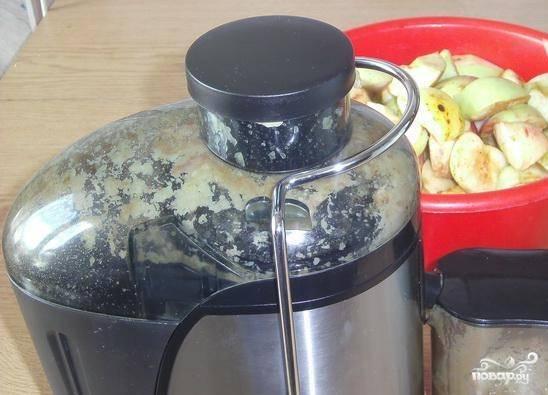 Теперь пришло время воспользоваться соковыжималкой. Пропустите все яблоки через нее, чтобы получился густой сок. Соберите сок в одну емкость.