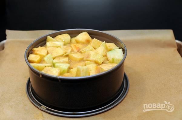 5. В жаропрочную форму выложите яблоки. Залейте тестом и отправьте в духовку.