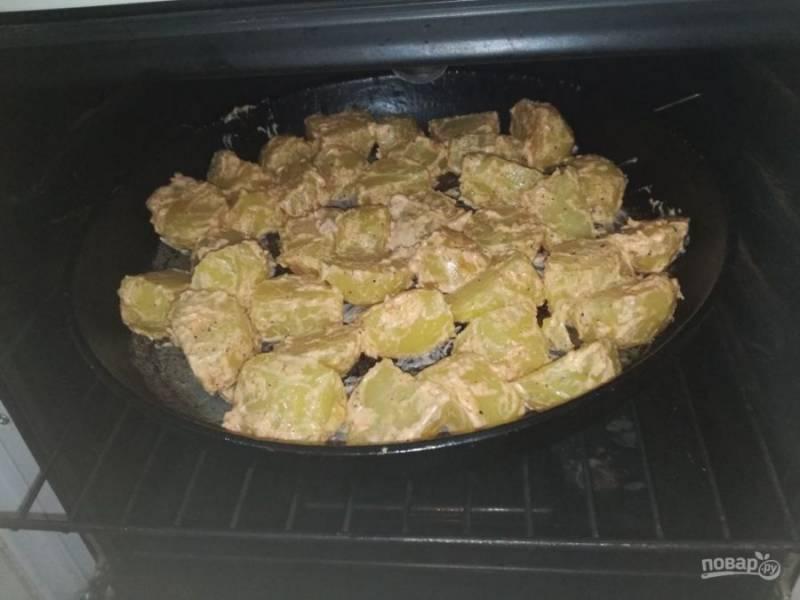 Поставьте в духовку на 200 градусов на 30 минут (картофель покроется красивой корочкой).
