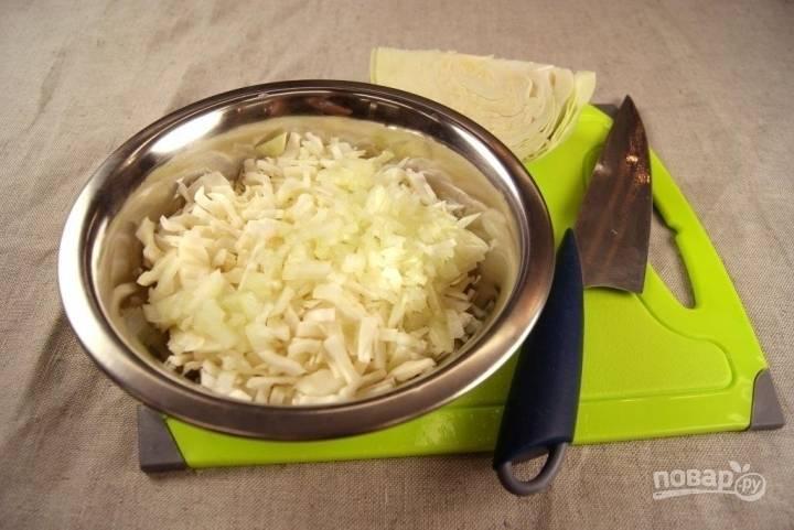 Тем временем мелко нарезаем капусту и лук, перемешиваем.
