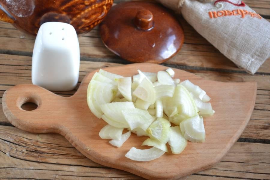 4. Лук порежьте полукольцами, морковь натрите на мелкой терке. Обжарьте на сковороде до мягкости двух ингредиентов.