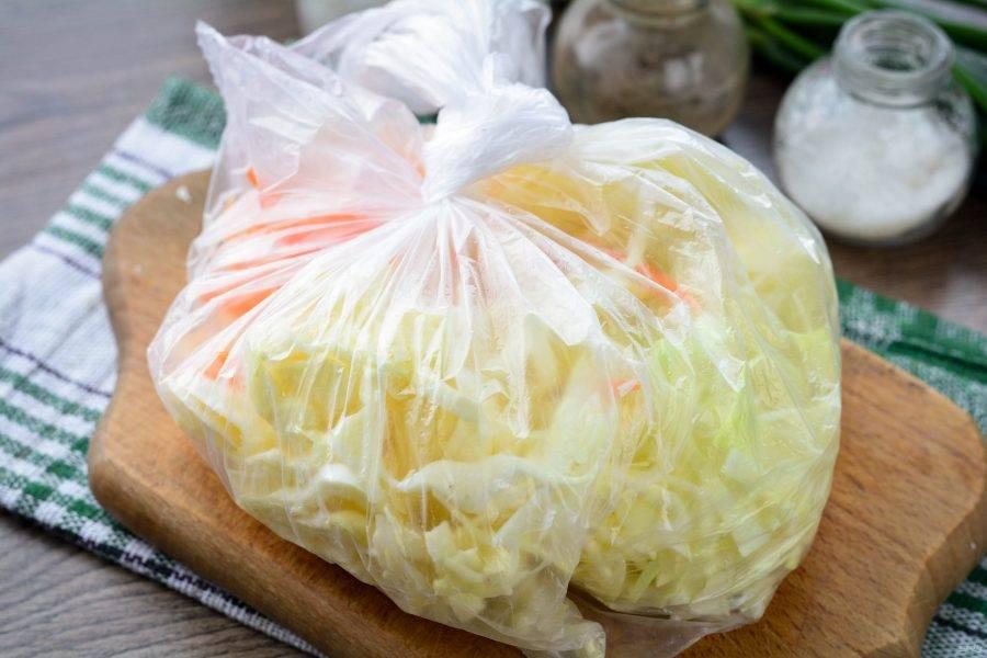 Завяжите пакет и хорошенько все перемешайте, чтобы овощи соединились со специями. Овощи в процессе встряхивания начнут отдавать сок. Положите капусту в пакете в холодильник и через 5-6 часов снова хорошо встряхните. Такую процедуру повторите несколько раз. Через 2 дня капуста будет полностью готова.
