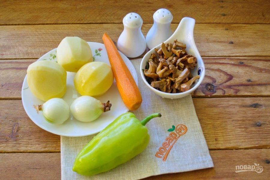 Для приготовления супа нам нужно взять картофель, репчатый лук, морковь, болгарский перец, грибы лисички, соль, перец, специи к грибным блюдам.