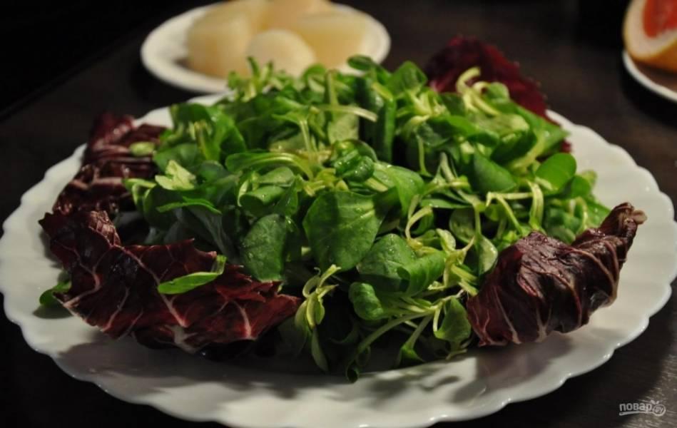 6.На тарелку выкладываю высохшие листья салата, распределяю их.