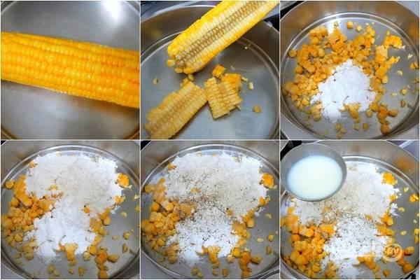 1. Первым делом кукурузу нужно отварить до готовности. После немного остудите и срезать зерна. Добавьте муку, разрыхлитель, соль и специи, немного молока.
